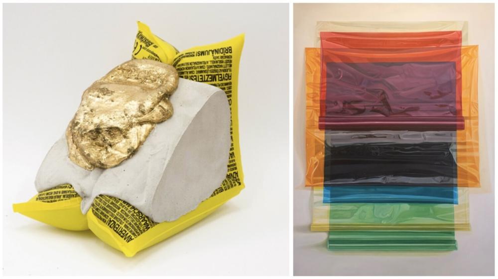 Left:  Lucas Simoes,  Corpo de prova#09 , Cement, gold, inflatable, 16 x 16 x 11 cm, 2017  Right:  Nicolás Radic,  Celofán , Oil on canvas, 170 x 145 cm, 2017
