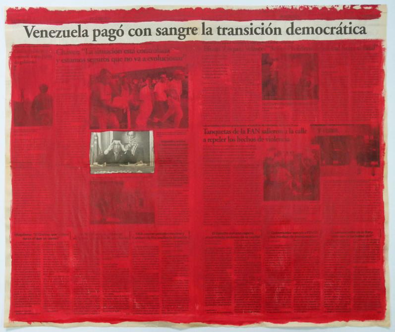 Marco Montiel-Soto,  Serie La verdad no es noticia , Acrylic on newspaper, 57,5 x 68,5 cm, 2016