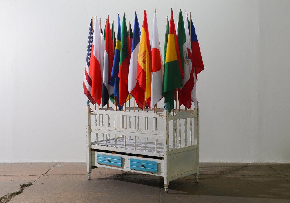 Fernando Poyón,  Espacio de inmigración,  wood, cloth, and sponge, 2018
