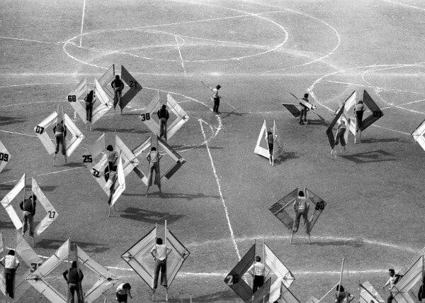 Manuel Casanueva y Escuela de Valparaíso,  Giro y realce de triple cortejo sobre volutas , 1975. Cortesía del Archivo Histórico José Vial, PUCV, Valparaíso