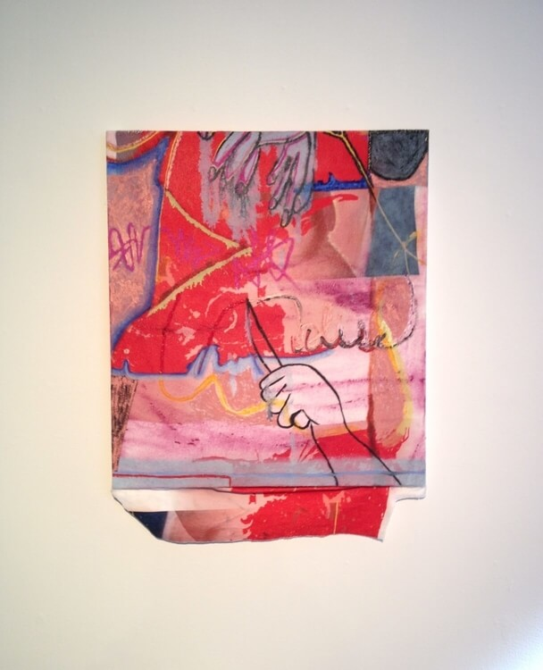 Gaby Collins-Fernandez,  Bliss Punctum Towel Painting , 2016, oil and acrylic and digital drawing on beach towel