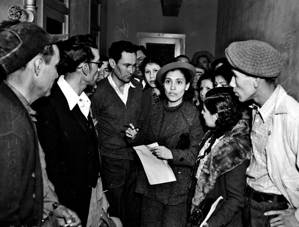 20-year old Emma Tenayuca speaks to members of the National Workers Alliance outside a hearing investigating beatings by border patrol officers, Feb. 23, 1937. Image Courtesy of UTSA Special Collections