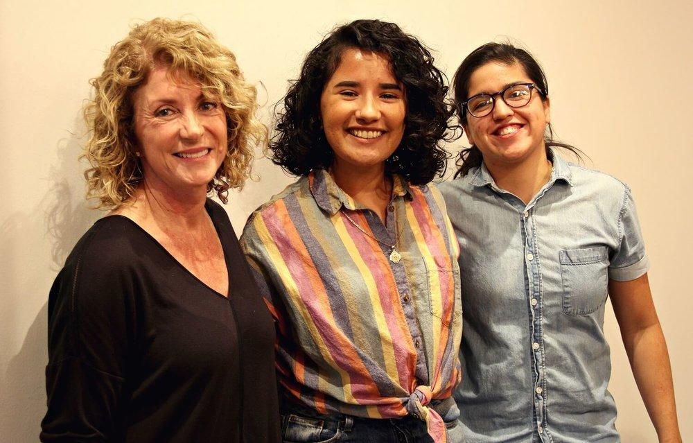 Former Texas State Senator Wendy Davis, Artist Edith Valle, and Jolt Organizing Director Tess Ortega. Photos by Richard Gonzalez