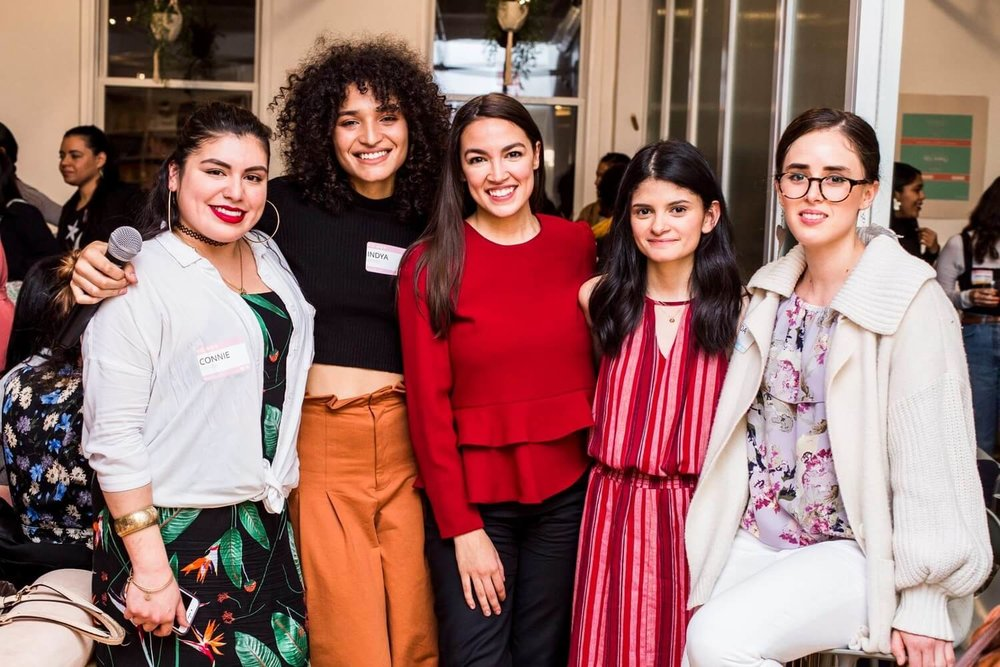 Photo by Elena Mudd from Trenza's first panel-style event at The Wing. Pictured (L-R): Connie Chavez, Indya Moore, Alexandria Ocasio-Cortez, Vivian Nunez, Amanda Sol Peralta.