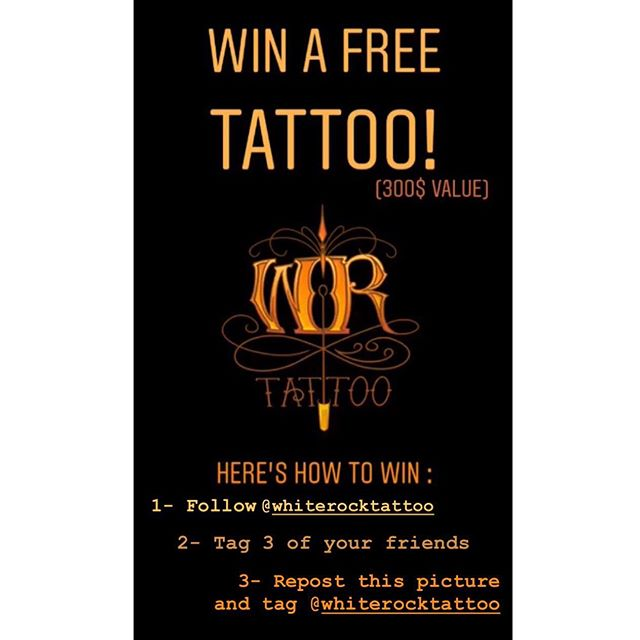 🎉GIVEAWAY TIME! 🎉  We want to reach 1K followers and need your help!  To thank you guys for your infinite support, one(1) person will have the chance to win a free tattoo (value of 300$), or 300$ to put towards an on-going session (applicable with Mike and Travis only). Here are the rules to participate : 1- Follow @WhiteRockTattoo 2- Tag your 3 best tattooed buds in the comments. 3- Repost this picture and tag @WhiteRockTattoo  Bonus : Get more chance to win by following @generationinktattoo.co AND @trav.e.tattoos  Winner will be randomly selected once we reach 1000 followers!  #giveaway #giveawaycontest #1kgiveaway #freetattoo #contest #whiterocktattoo #vancouvertattooartist #vancouvertattoo #canadiantattooartist #canadiantattooshop #tattooartist #tattooshop #likefollowtag #lowermainland #citybythesea #whiterockbeach #tattooideas #tattoosofinstagram