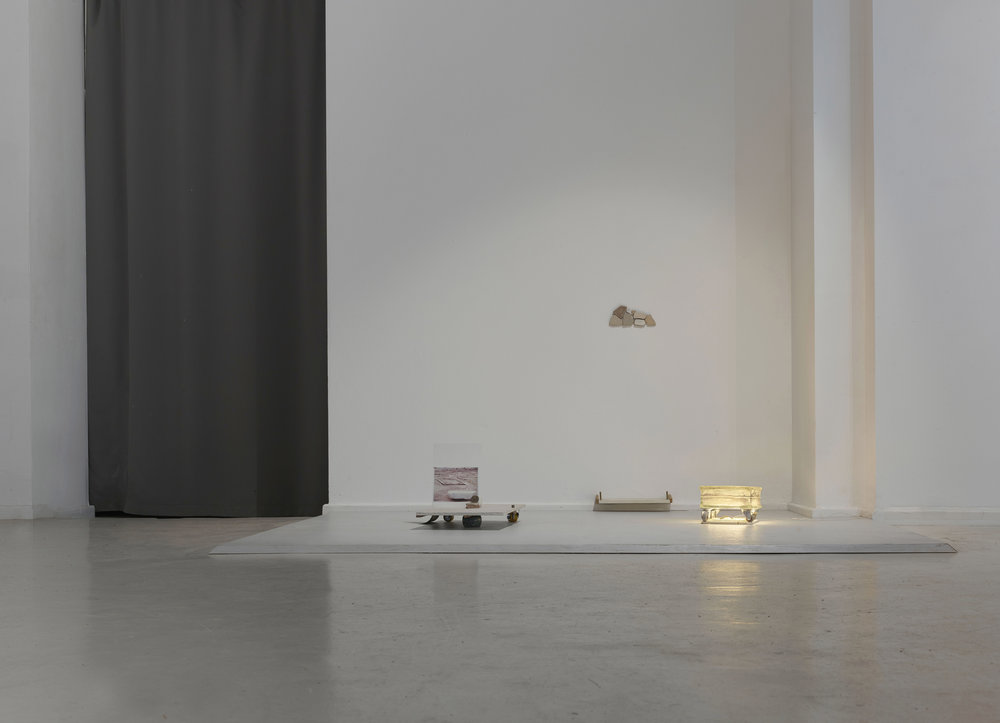 Time in stone (Orient) , 2018  sea tiles, granite, brass, glass, LED, plaster, marble leaf and door knob, rubber casters, abacus, plaster board, velvet, steel joints, beads, inkjet print on paper  Dimensions variable