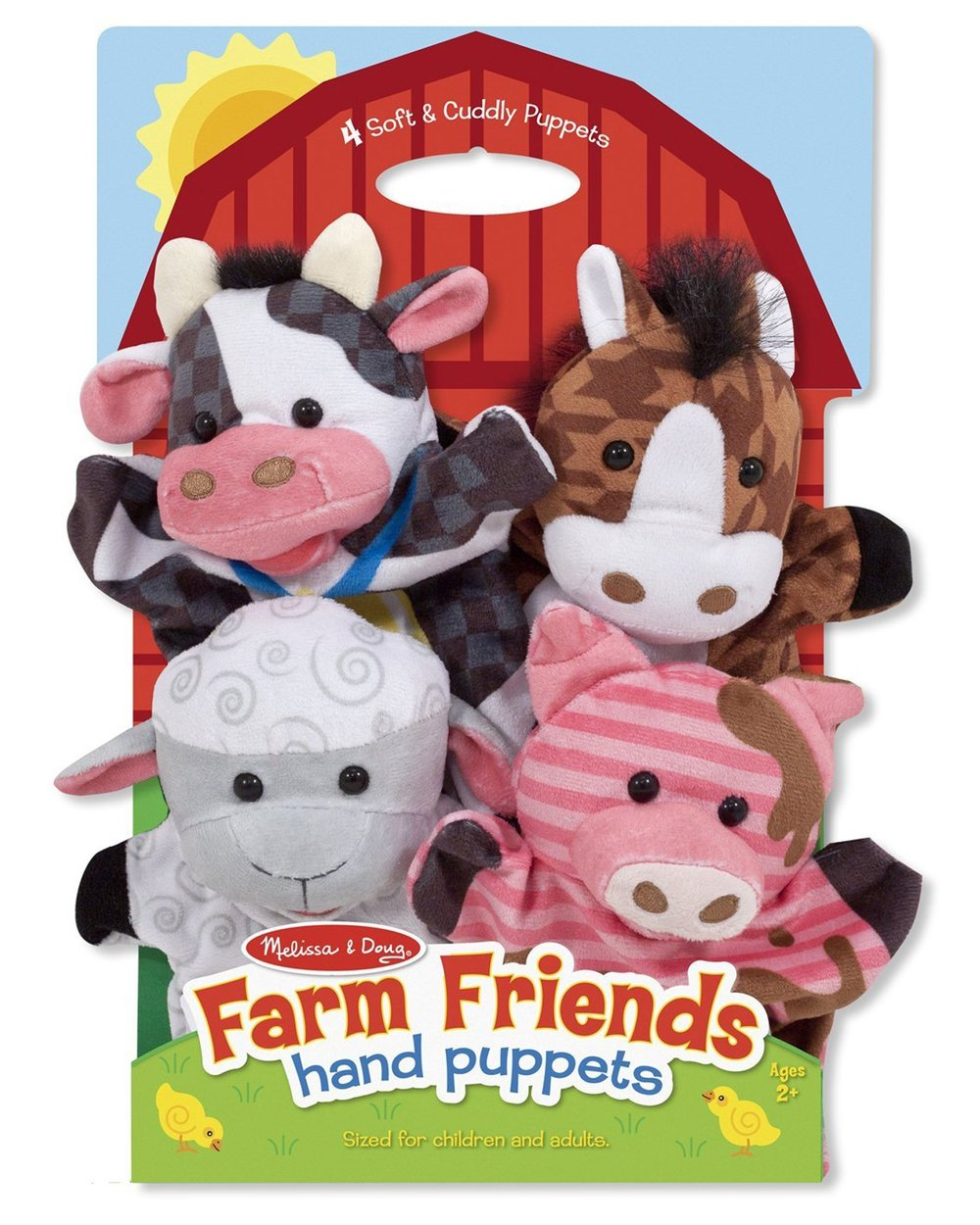 FARM FRIENDS HAND PUPPETS (Melissa & Doug, R295)  This four-piece hand-puppet set makes it easy for children and caregivers to role-play together! Four simple glove puppets in a coordinated farm theme can act out a scene together, or be used separately for simple puppet play. Either way, they are great for developing motor skills, hand-eye coordination, communication skills, self-confidence, parent-child bonding, and so much more. Made with brightly patterned, washable fabrics and built to last, these soft and friendly hand puppets are sure to be go-to toys for years to come. Farm Friends Hand Puppets includes a sheep, cow, pig, and horse.  Suitable for ages 2 years and older and sized for children and adults.