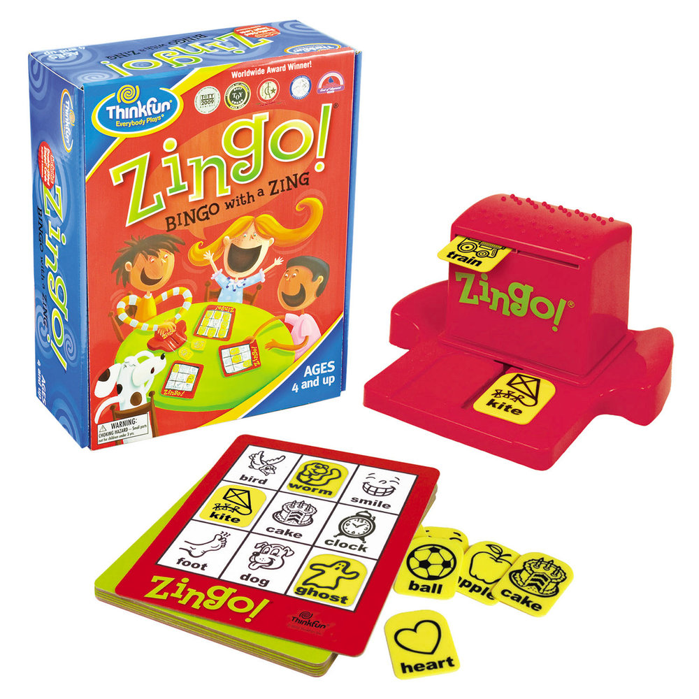 "Zingo!® It's not just bingo. It's Zingo!, a matching game that encourages pre-readers and early readers alike to match the pictures and words to their challenge cards. The Zingo! Zinger dispenses tiles and fun as young minds quickly race to be the first player with a full card and yell ""ZINGO!"" With two levels of play, this matching game builds language skills through fast-paced play.  This top-selling ThinkFun game not only develops perceptual and cognitive skills, but promotes social and fine motor skills too!  Features:  6 Double-Sided Zingo! Cards with 2 Levels of Play  72 Double-Sided Tiles  Zingo! Zinger with Easy Cleanup!  Parent's Guide  Players: Two or more  Suitable for ages 3 years and older."