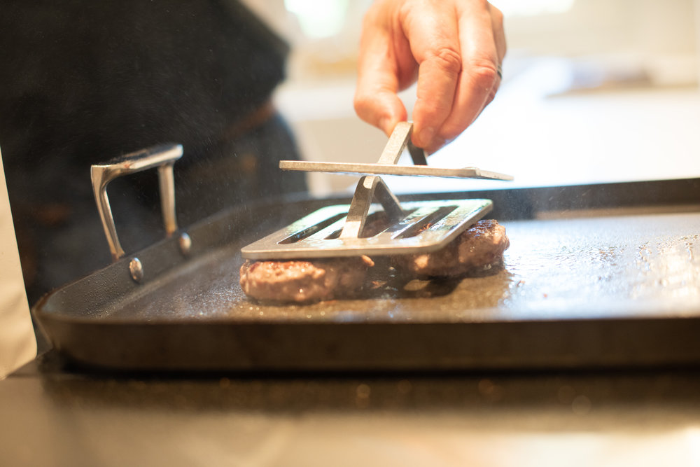 The Chef's Press causes food to cook 20-30% faster by making better contact with the cooking surface.