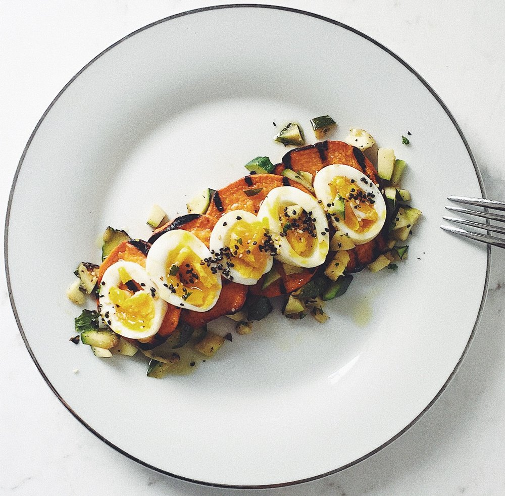 Sweet Potato Medallions With 5 Minute egg and diced Zucchini -