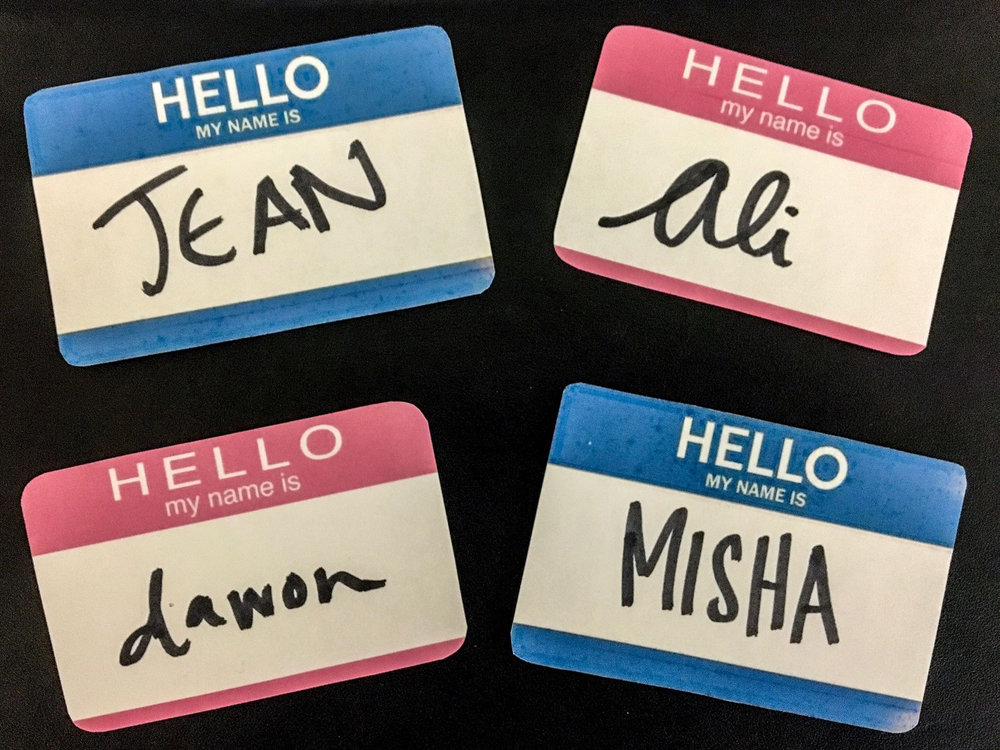 Pink and Blue Name Tag Stickers