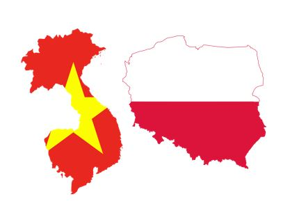Vietnamese flag on Vietnam country and Polish flag on Poland country