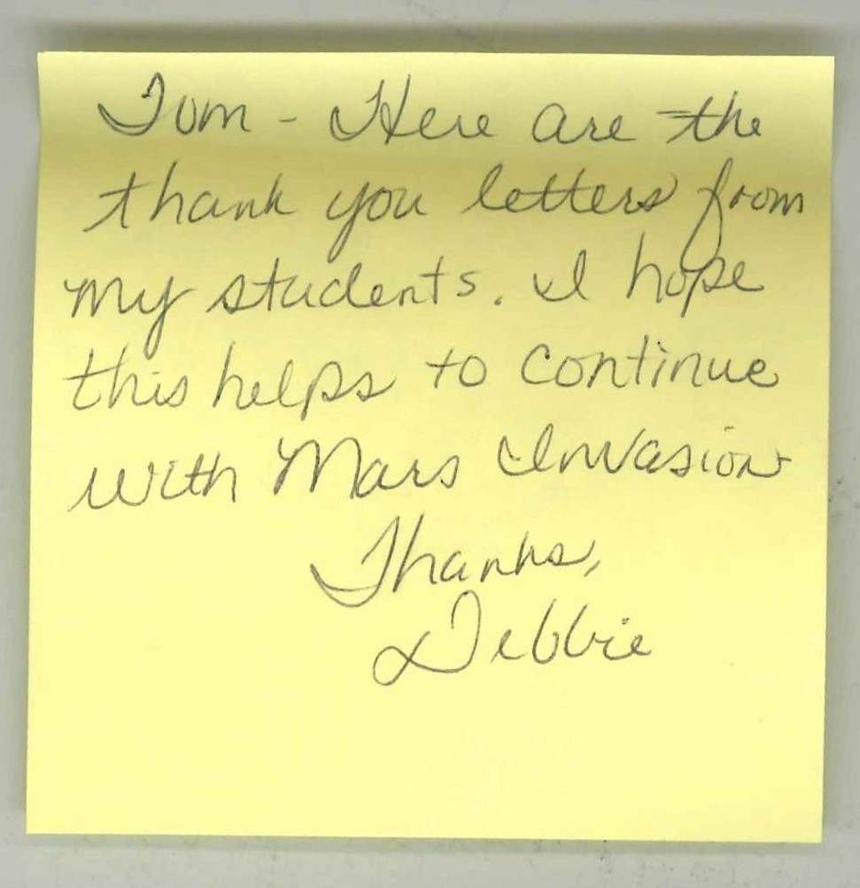 Hindman Elementary post-it from Debbie with thank you letters.jpg