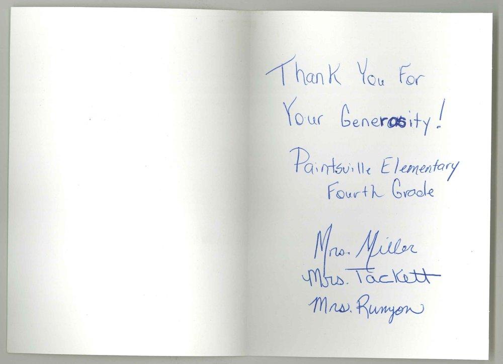 Paintsville Elementary Fourth Grade Thank You card inside.jpg