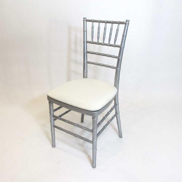 Chiavari Chair In Silver Wood W/ Cushion