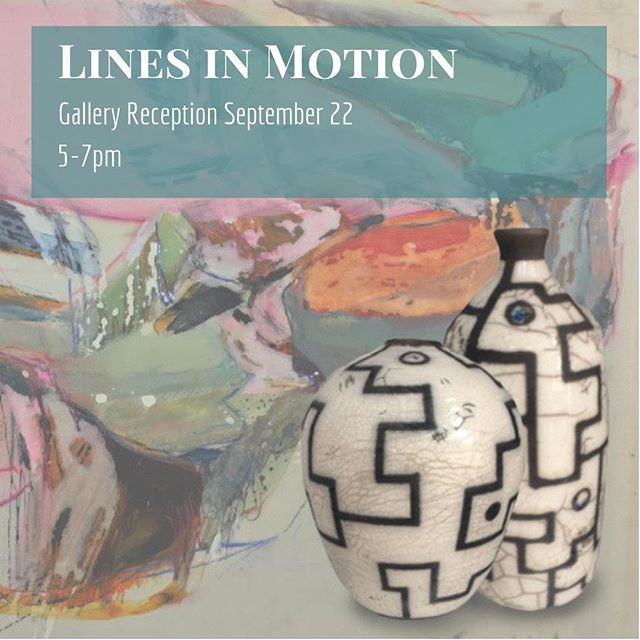 Join us THIS SATURDAY as we celebrate our newest show, Lines in Motion, featuring artists @arussellgerber and @kayoalbertart . 5-7 pm, byob-friendly, free small bites from the cafe, and a good time for all.  #workingfortheweekend #pottery #paint #raku #abstractart #contemporaryart #japan #free #freereception #awesomealpharetta #atlantaeats #buylocal #buylocalart #shoplocal #newyork