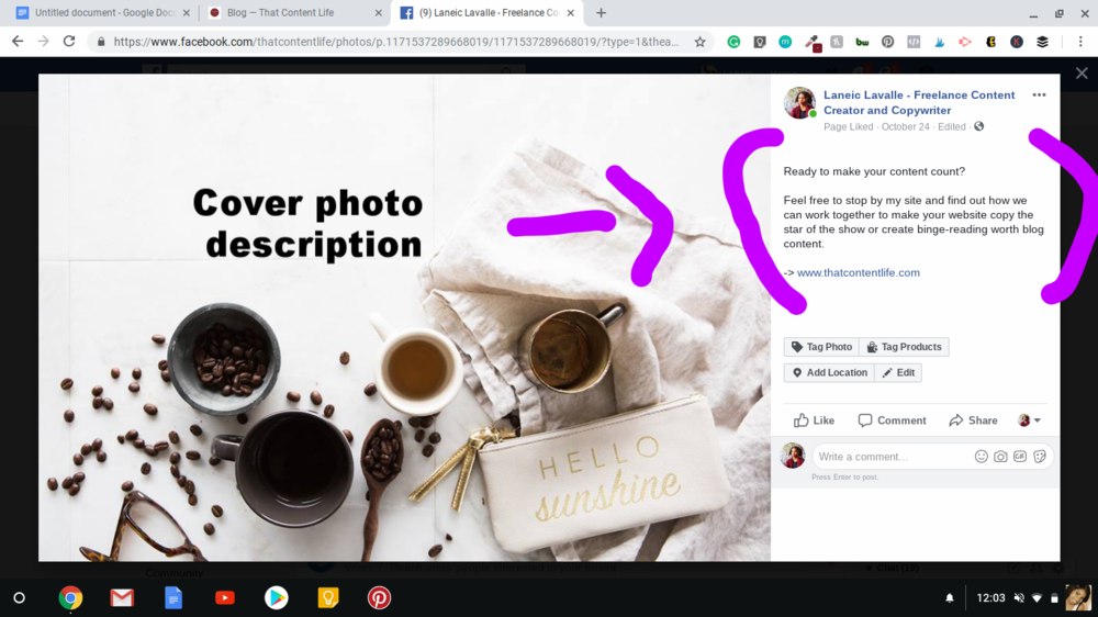 Update your Facebook Cover Photo's and profile pictures with a welcome message and call to action in the description box