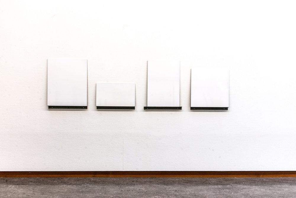 White Superficial , 2012 Lacquer on MDF, 60 x 220 cm  Neo Ego , Haugesund Billedgalleri, 2015 Photo: Gunhild Saltvik