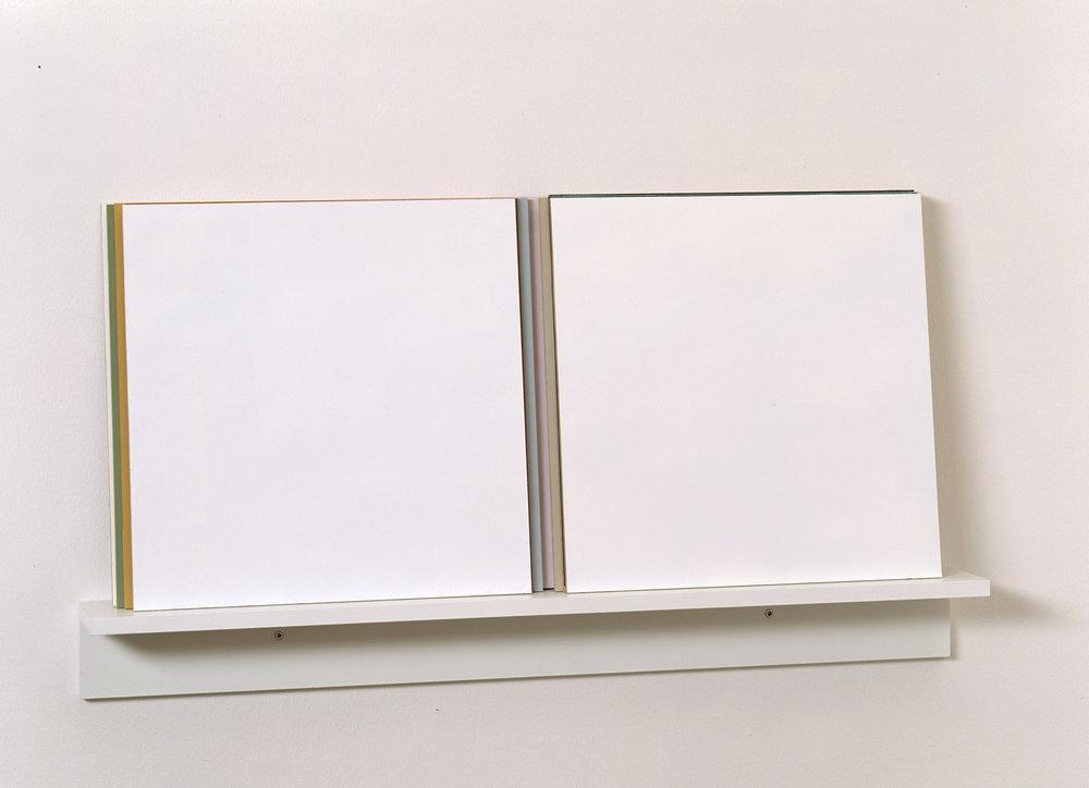 Sammen , 2001 Acrylic on wood, 40 x 86 cm  GODDESSES (Gudinner. Kvinner som beveger kunsten II) , 2010 and  Kunst 4. Verk fra samlingen   1950-2007 , 2007–2009, The National Museum of Art, Oslo