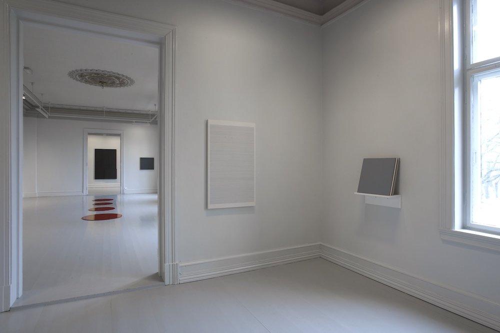 Untitled,  2008 (right) Acrylic on MDF, 45 x 45 cm  Flater - En utstilling om det monokrome maleriet , Galleri F 15, Moss, 2008