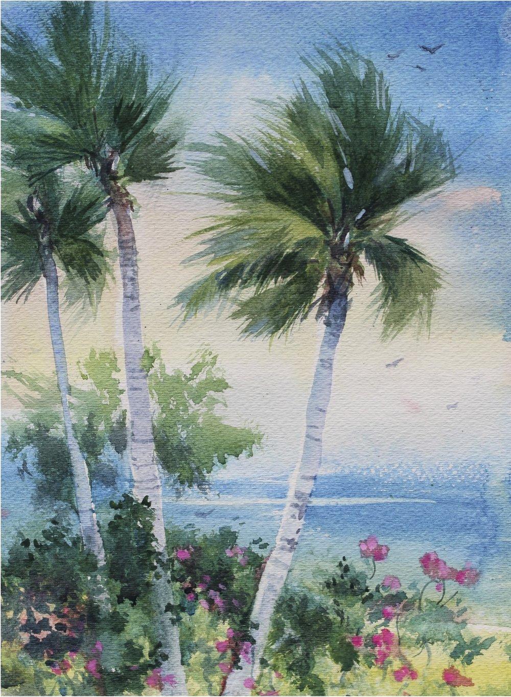 kindy - Palms w Hibiscus.jpg