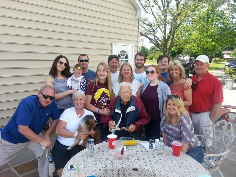 The extended Lines Family with Harry Lines (Grandpa) in 2014. Harry was 95 years old.
