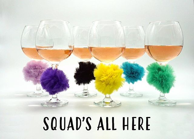 This is what we call #SquadGoals  Coming soon to a Party City near you: feather wine glass markers!