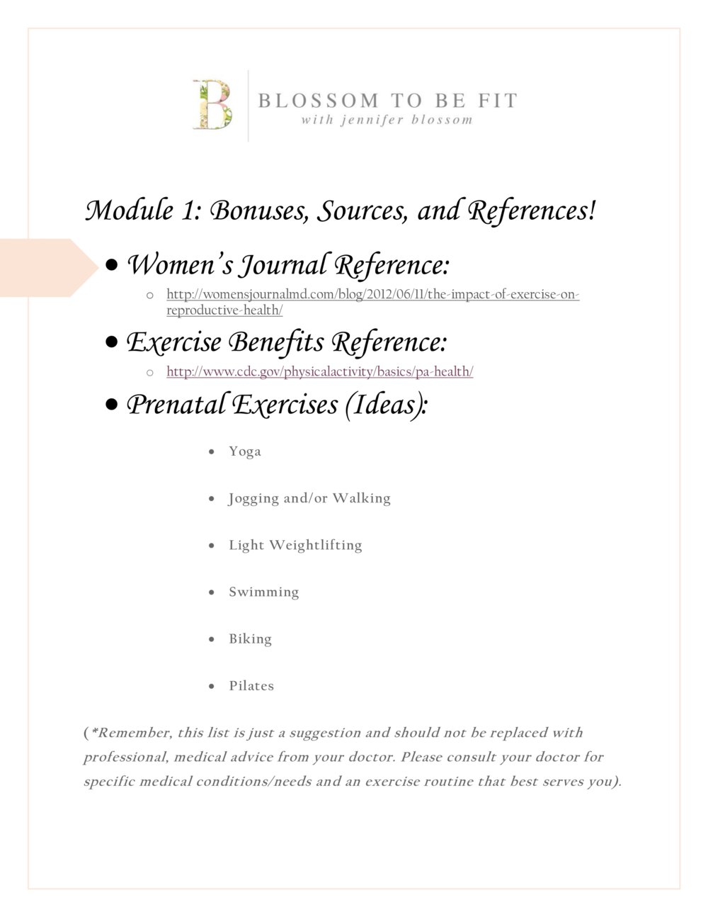 Module One: Prenatal Exercise — Blossoming Mommy and Baby