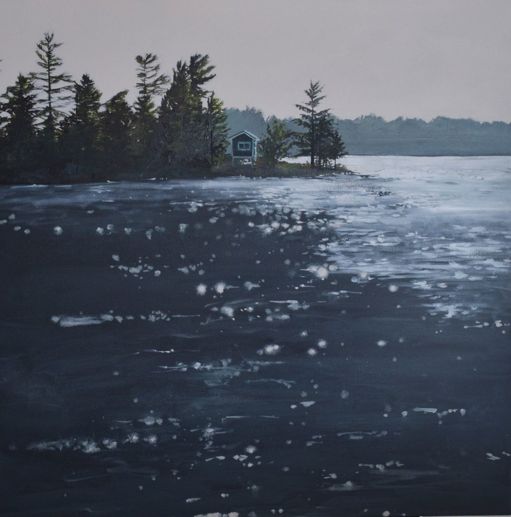 "manitouwabing lake, 2017, oil on canvas, 24"" x 24"""