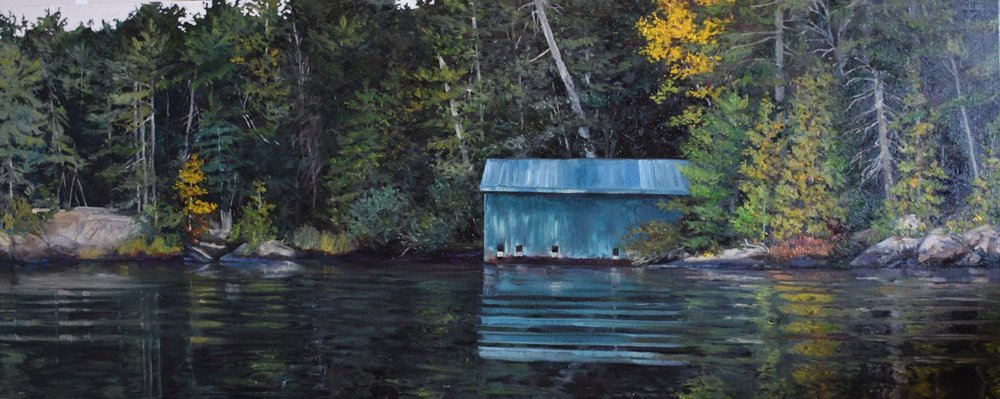 "french river boat house, 2015, oil on canvas, 40"" x 16"""