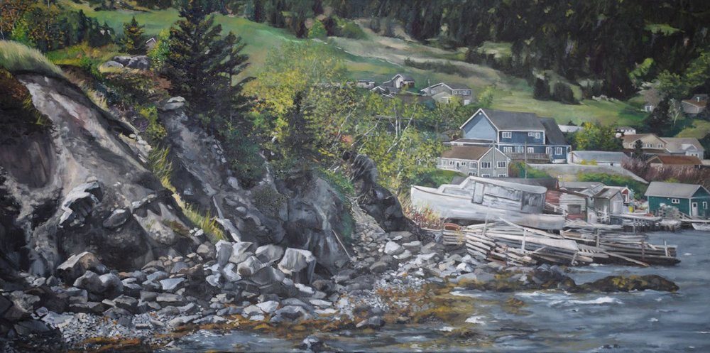 "rocky harbour, 2015, oil on canvas, 60"" x 30"""