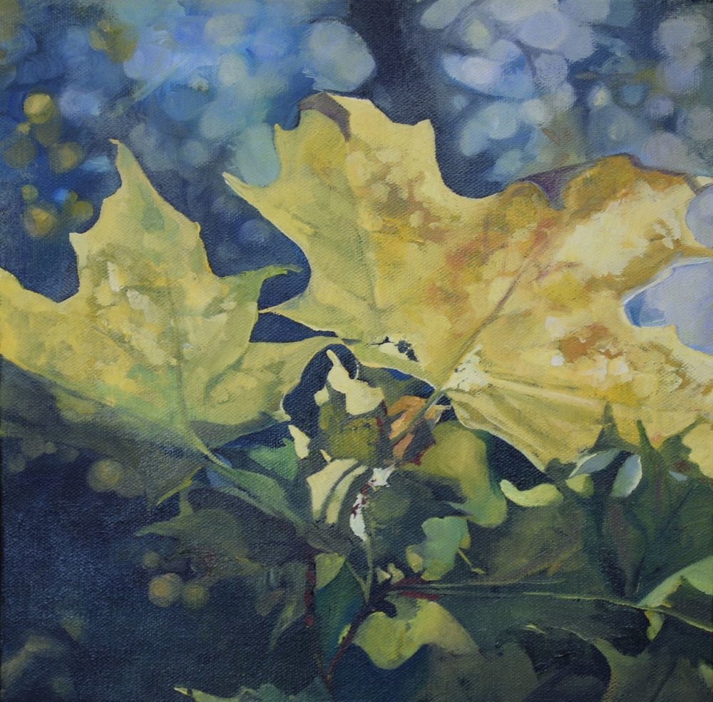 "leaf space, 2015, oil on canvas, 12"" x 12"""