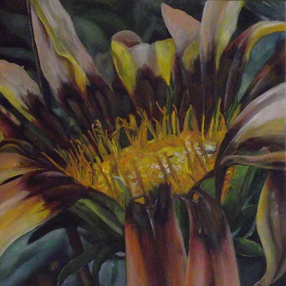 "fall flower, 2013, oil on canvas, 16"" x 16"""
