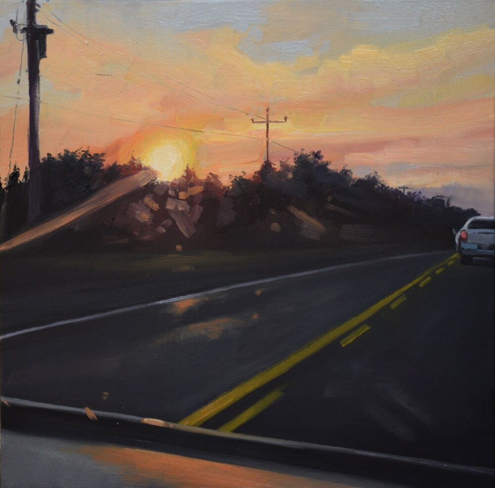 "on the way, 2018, oil on canvas, 12"" x 12"""