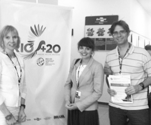 (from left to right) Diana Wall, Kelly Ramirez, and Heitor Coutinho representing GSBI at the Rio+20 event.