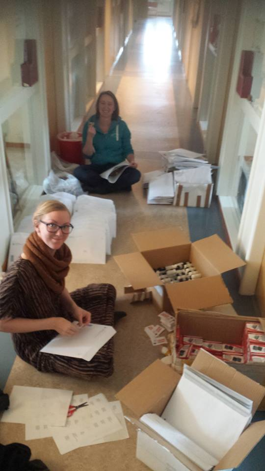 Tea Bag Index team members prepare packets for schools. Photo credit Judith Sarneel
