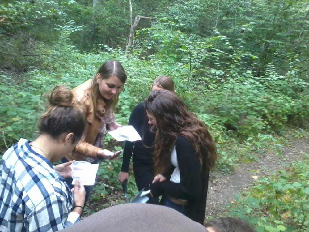 """Leading a """"soil critter"""" walk is an engaging way to introduce people to soil biodiversity. Photo credit L. Byrne"""