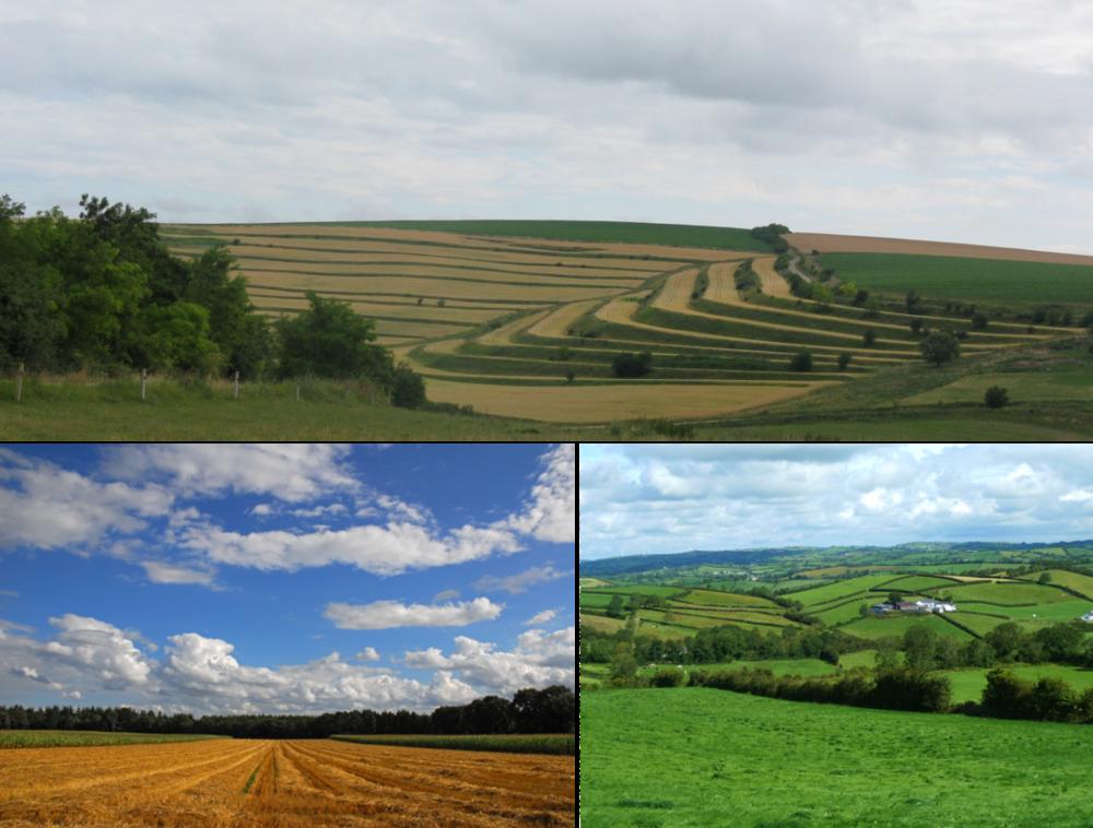 European landscapes, Top: Terraced fields, credit: Rusu Teodor, USAMV Cluj Lower left: Agricultural field, credit: Eckhard Pieper, LWK Niedersachsen Lower right: Irish Soil Information System project (Teagasc, Ireland)