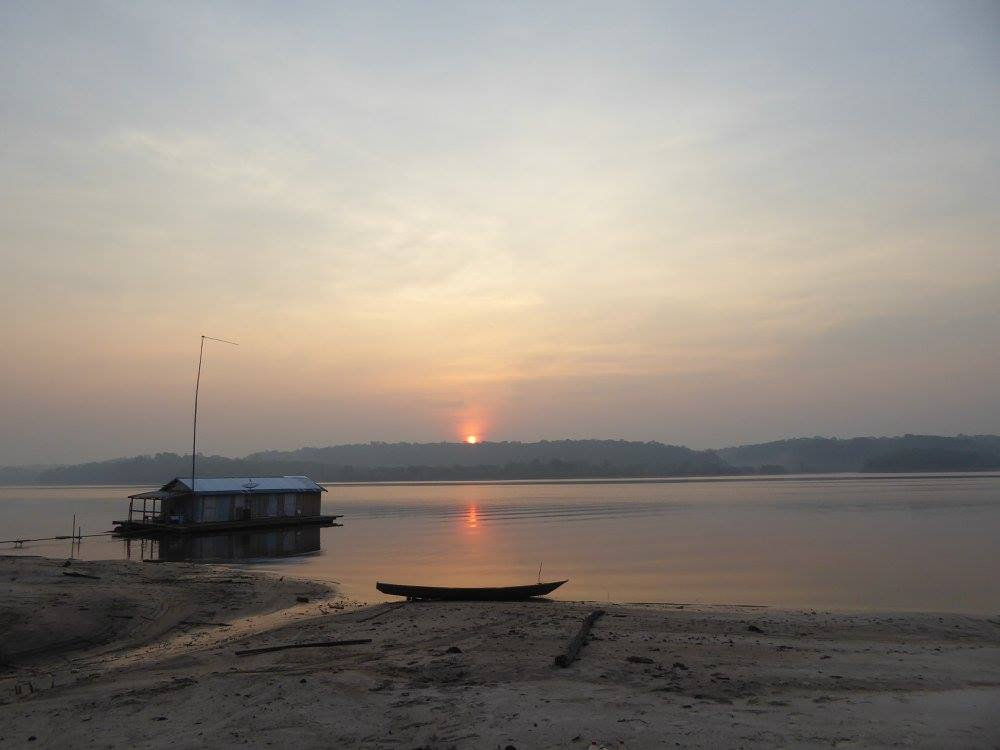 """Sunrise on the Cuieras river, """"Reserva do Cuieras"""", close to Manaus, AM, Brazil.  Photo credit C.Ritter"""