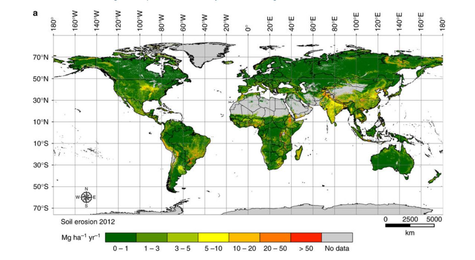 Amount of soil lost by water erosion in 2012 at 250×250m resolution for 202 countries (approx. 125 million km2).  Image from Borrelli et al. 2017