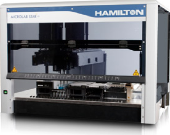 Hamilton StarLet - Automated robotic liquid handling to prepare mock microbial communities and to assist sample preparation for molecular microbial work. Image: hamiltoncompany.com