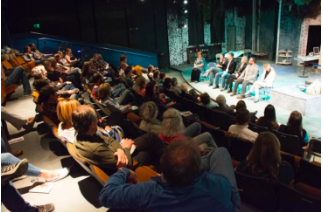 """Above: A panel of soil scientists answers questions from the audience after an exhibition of """"Dirt: A Terra Nova Expedition"""". Photo by Kristin Pintauro."""