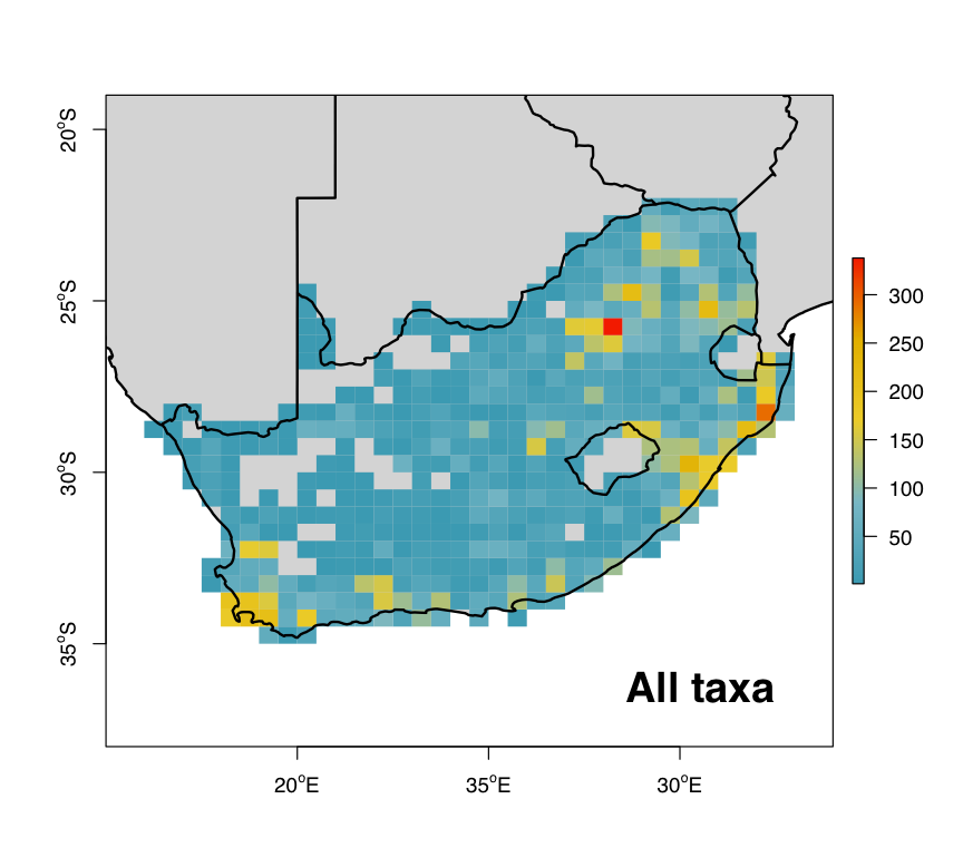 Fig. 2 : The distribution of soil fauna in South Africa.