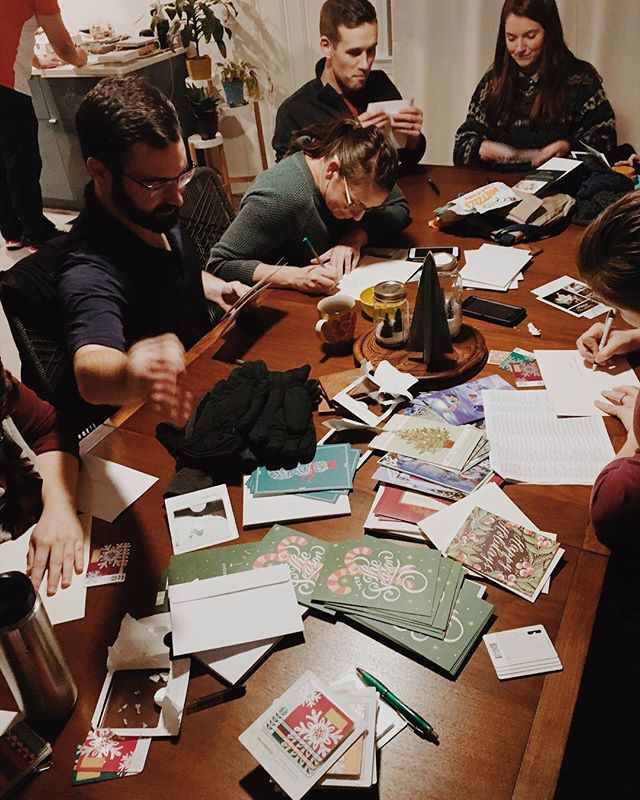 Some folks in our church spent time writing Christmas cards for the teachers and staff at #chandlercreek! #hereingreer #gratitude #tcgsisordinary