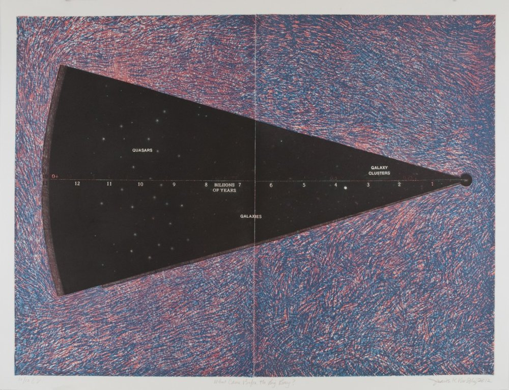 """""""What Came Before the Big Bang"""" by Judith Brodsky, etching, 38"""" x 52"""