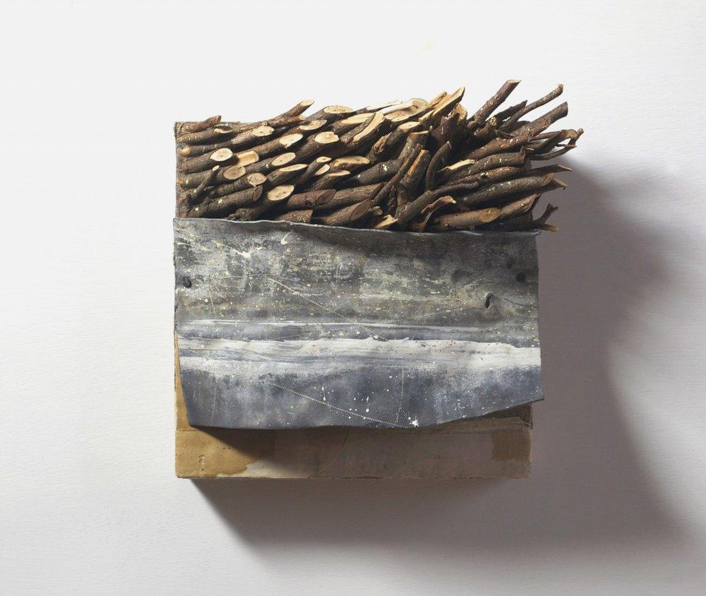 Kathyrn Frund Rapture Rupture No 12, 2012 9 x 9.25 x 5 lead, linen, paper, wood on panel