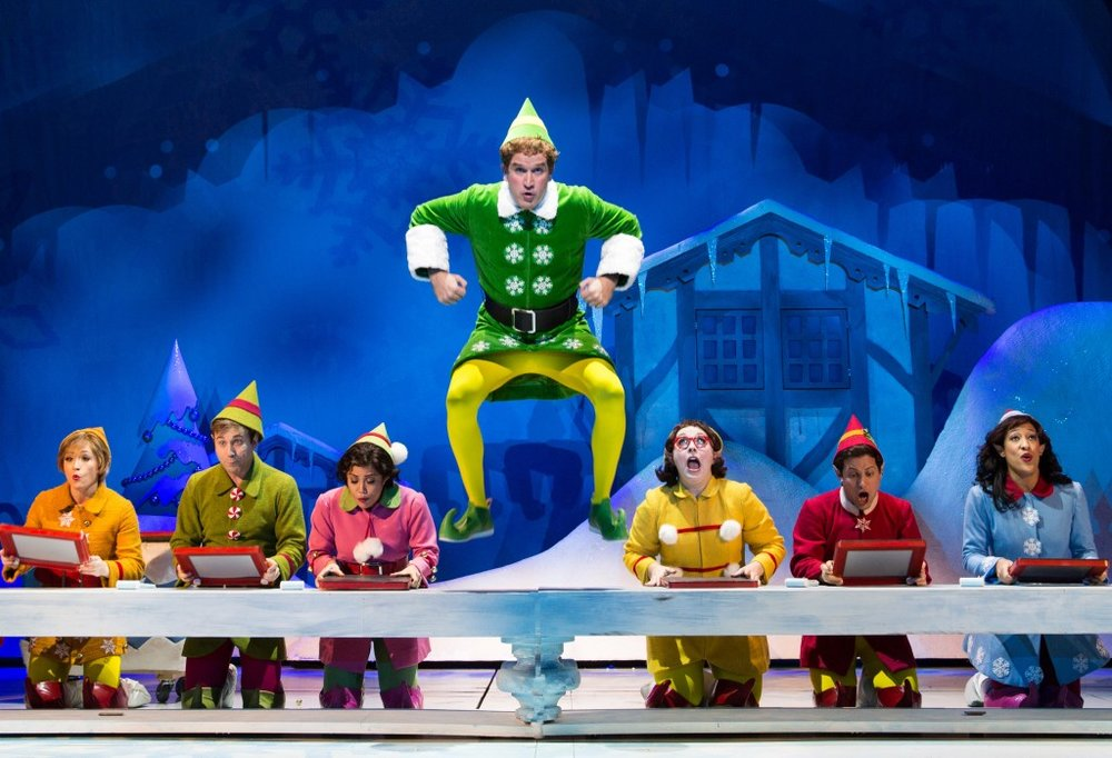 Elf at Paper Mill Playhouse; Photo by Matthew Murphy; James Moye (Buddy), center, and Santa's Elves.
