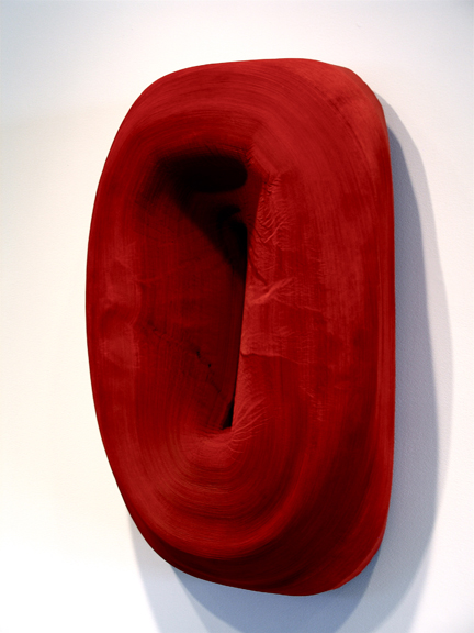 Jae Ko, JK329 Red, 2006, rolled paper, ink, glue, 40.5 x 26 x 9 inches, Courtesy of the Artist