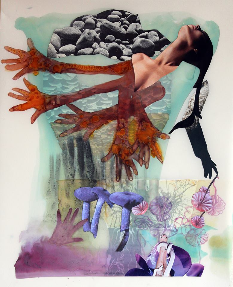 """Jane Dell, """"Healing Hands,"""" 2013, watercolor ink, collage on Mylar, 19""""x15 1/4"""", courtesy of the artist."""