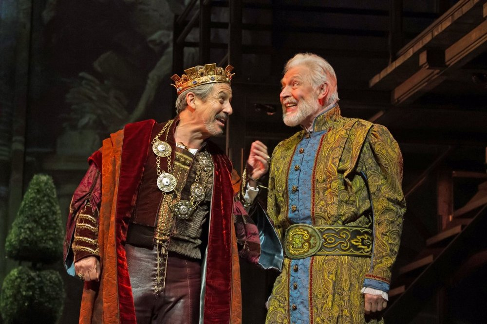 Ever After at Paper Mill Playhouse; Photo by Jerry Dalia; Charles Shaughnessy (King Francis) and Tony Sheldon (Leonardo da Vinci).